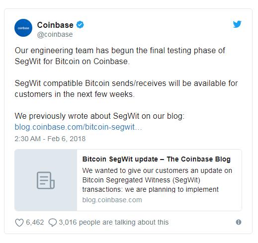 Coinbase приступила к заключительной стадии исследования SegWit для биткоина